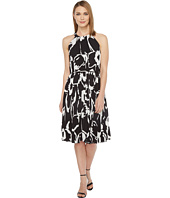 Vince Camuto - Cut Out Floral Pleated Belted Halter Dress