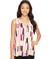 Vince Camuto - Sleeveless Charming Graphic Drape Front Blouse