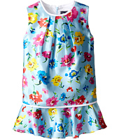 Oscar de la Renta Childrenswear - Scattered Flower Mikado Multi Layer Dress (Toddler/Little Kids/Big Kids)