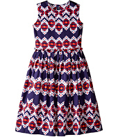 Oscar de la Renta Childrenswear - Ikat Cotton Gathered Skirt Party Dress (Toddler/Little Kids/Big Kids)