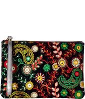 Frances Valentine - Large Floral Embroidery Zip Wristlet