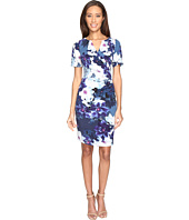 Adrianna Papell - Budding Layer Printed Tiffany Twill Side Drape Pleated Sheath Dress with Elbow Sleeve