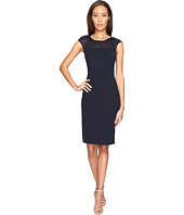 Adrianna Papell - Gathered Netting Yoke Power Stretch Sheath Dress