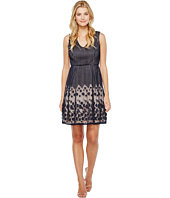 Adrianna Papell - Pleated Plaid Dot Lace V-Neck Fit and Flare Dress