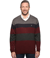 U.S. POLO ASSN. - Long Sleeve V-Neck Stripe Soft Acrylic