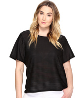 Calvin Klein Plus - Plus Size Short Sleeve Sheer Stripe Top
