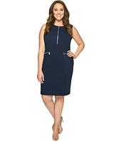Calvin Klein Plus - Plus Size Sleeveless Textured Dress with Zippers