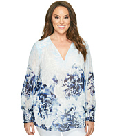Calvin Klein Plus - Plus Size Long Sleeve Printed Peasant Blouse