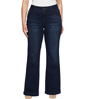 Jag Jeans Plus Size - Plus Size Farrah Wide Leg Crosshatch Denim in Night Breeze
