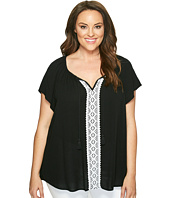 Karen Kane Plus - Plus Size Lace Trim Raglan Sleeve Top