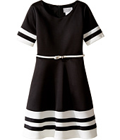 Us Angels - Scuba Short Sleeve V-Neck Fit & Flare Dress (Big Kids)
