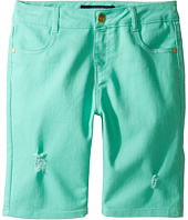 Tommy Hilfiger Kids - Bermuda Length Distressed Denim Shorts in Cabbage (Little Kids/Big Kids)