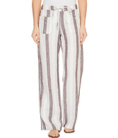 Allen Allen - Four-Pocket Stripe Long Linen Pants