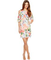 Maggy London - Chiffon Print Cold-Shoulder Shift Dress