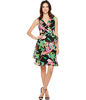 Tahari by ASL - Floral Chiffon Faux-Wrap Dress