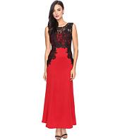 Sangria - Lace Trim Gown