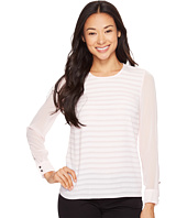 Vince Camuto Specialty Size - Petite Long Sleeve Ribbon Stripe Blouse