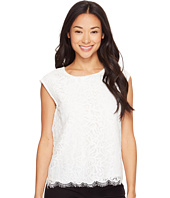 Vince Camuto Specialty Size - Petite Extend Shoulder Geo Lace Blouse