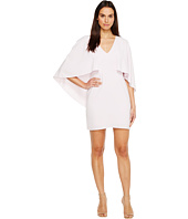 Halston Heritage - Flowy Cape Sleeve V-Neck Crepe Dress