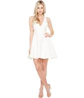 Halston Heritage - Sleeveless Deep V-Neck Silk Faille Dress w/ Cut Outs