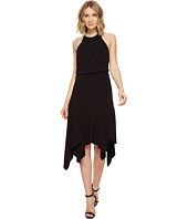 Halston Heritage - Sleeveless Round Neck Flounce Skirt Dress w/ Back Straps