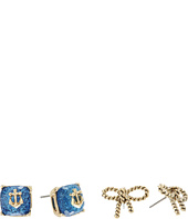 Betsey Johnson - Anchor Stone & Rope Bow Duo Stud Earrings