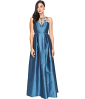 Adrianna Papell - Casablanca Halter Beaded Bodice Ball Gown with Front Slit