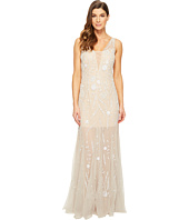 Adrianna Papell - Sleeveless Plunging V-Neckline Fully Beaded Mesh Illusion Gown with Godets