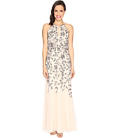 Adrianna Papell - Beaded Gown with Plunging Neckline
