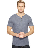 John Varvatos Star U.S.A. - Short Sleeve Knit Henley with Vertical Pickstitch Details K2943T1B