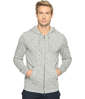 John Varvatos Star U.S.A. - Long Sleeve Two-Way Zip Front Knit Hoodie with Drawcord K2971T1B