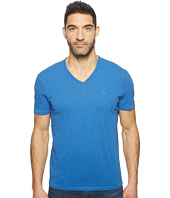 John Varvatos Star U.S.A. - Slub Short Sleeve Peace V-Neck with Peace Sign Chest Embroidery K3037T1B
