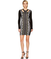 Versace Jeans - Cut Out Printed Long Sleeve Dress