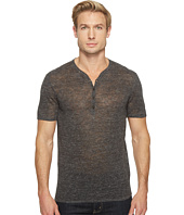 John Varvatos Star U.S.A. - Heathered Short Sleeve Drop Neck Henley Sweater Y1517T1L