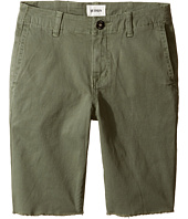 Hudson Kids - Beach Daze Raw Hem Sateen Chino Shorts in Green Ash (Big Kids)
