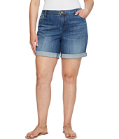 KUT from the Kloth - Plus Size Catherine Boyfriend Roll Up Shorts in Feminine/Medium Base Wash