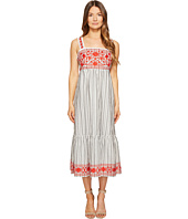 Kate Spade New York - Stripe Embroidered Midi Dress