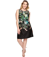 Adrianna Papell - Plus Size Leafy Oasis Scuba A-Line Dress with Laser Cut Neckline