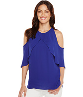Vince Camuto - Cross Over Ruffled Cold-Shoulder Blouse
