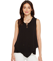Vince Camuto - Sleeveless Handkerchief Lace-Up Texture Blouse