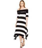 Vince Camuto - Off Shoulder Cuban Stripe Sharkbite Dress