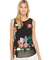 Vince Camuto - Sleeveless Havana Tropical Chiffon Mix Media Top