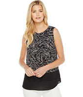 Vince Camuto - Sleeveless Graphic Ribbons Mix Media Layered Top