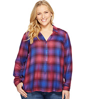 Lucky Brand - Plus Size Embellished Plaid Shirt