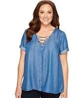 Lucky Brand - Plus Size Tencel Lace-Up Top