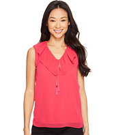 Calvin Klein - Sleeveless V-Neck Ruffle Collar Top