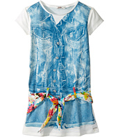 Junior Gaultier - Dress with Image of Denim Romper and Floral Scarf Belt (Toddler/Little Kids)