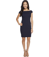 Adrianna Papell - Petite Off Shoulder Color Block Fitted Dress