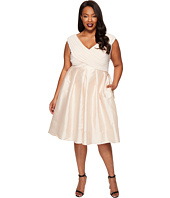 Adrianna Papell - Plus Size Fit and Flare Taffeta Skirt and Draped Matte Jersey Bodice
