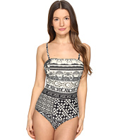 FUZZI - Lace Mosaic Print Spaghetti Straps One-Piece Bathing Suit